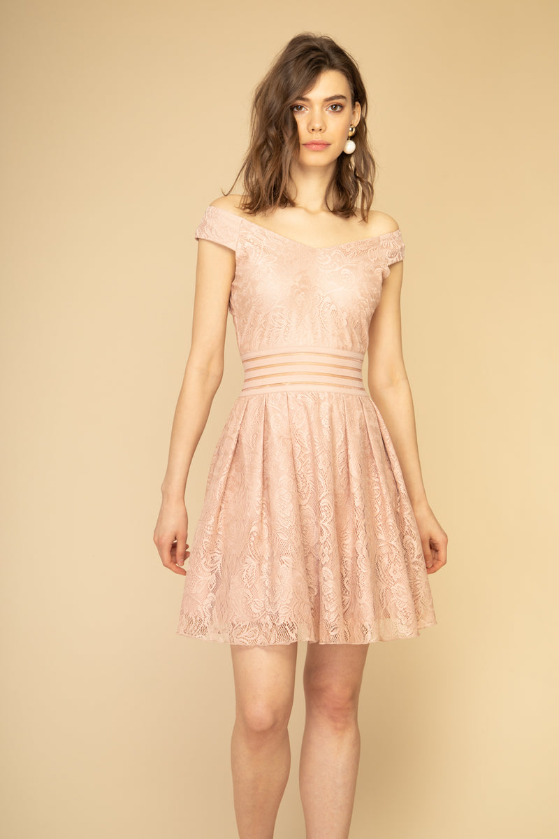 Robe patineuse courte rose