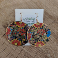 Round Floral Design Earrings