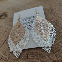 Load image into Gallery viewer, Double Leaf Earrings
