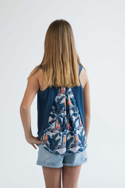 tween girls tank top blue banana leaf palms back