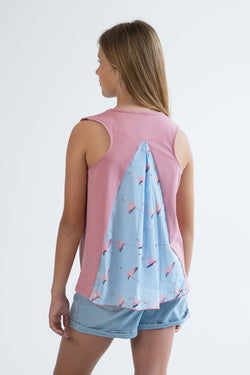 tween girls tank top rose pink flamingo back