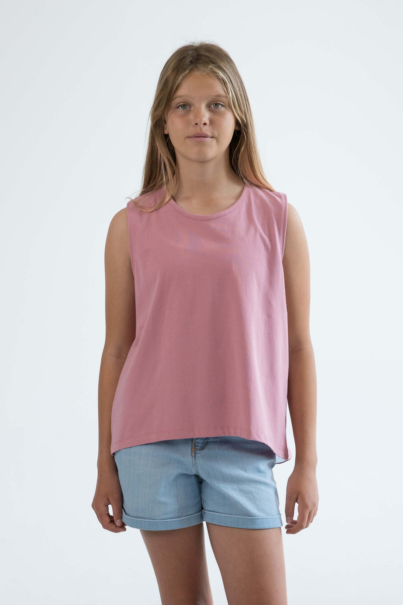 tween girls tank top rose pink flamingo front