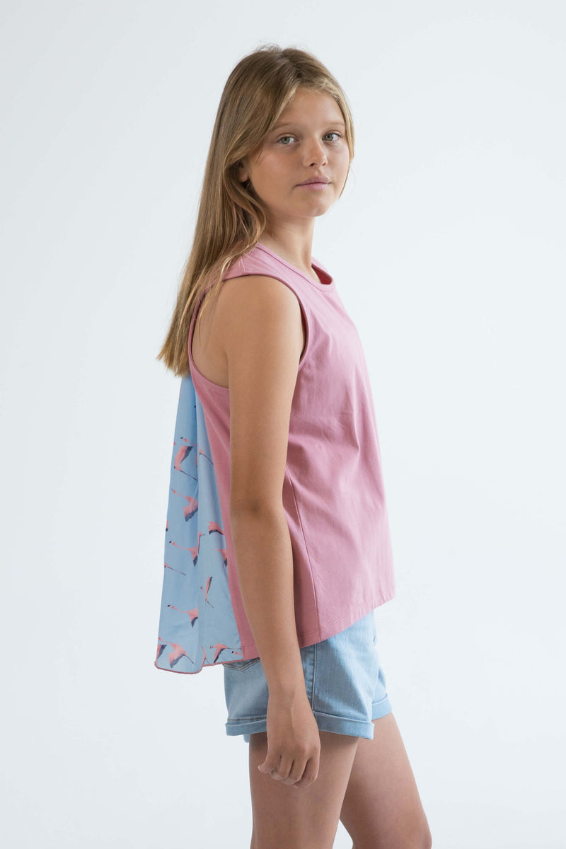tween girls tank top rose pink flamingo side view