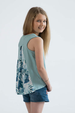 tween girls tank top mint floral back