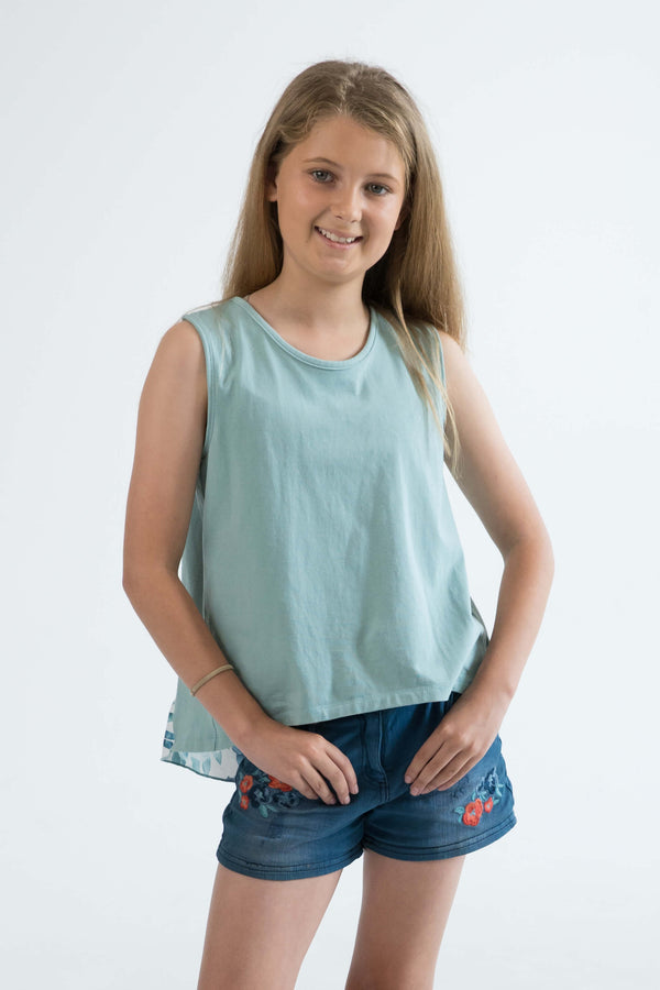 tween girls tank top mint floral front