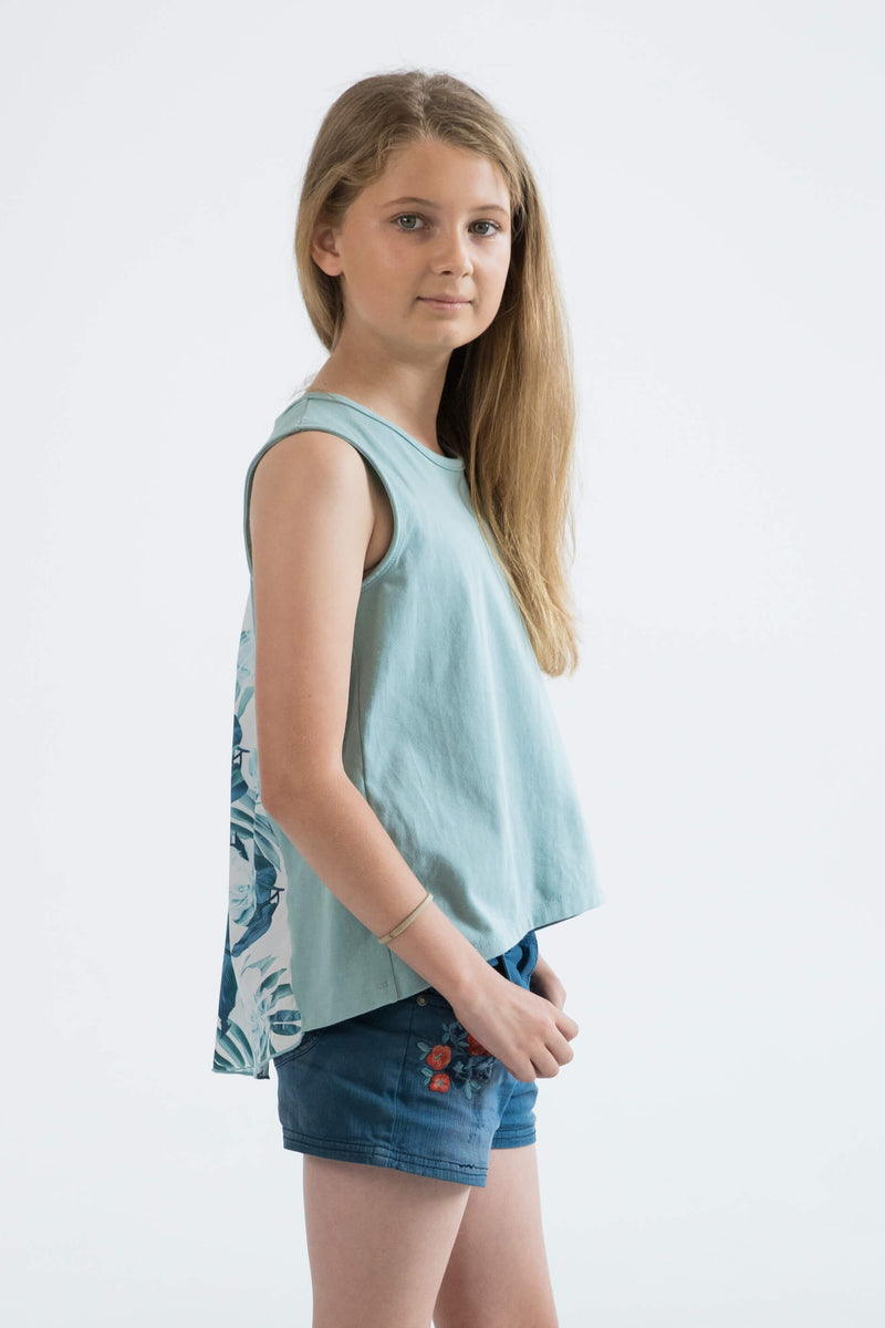 tween girls tank top mint floral side view
