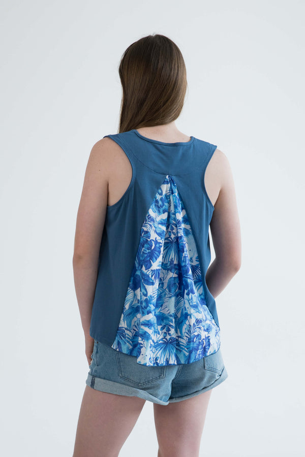 tween teen girls tank top blue tropical back