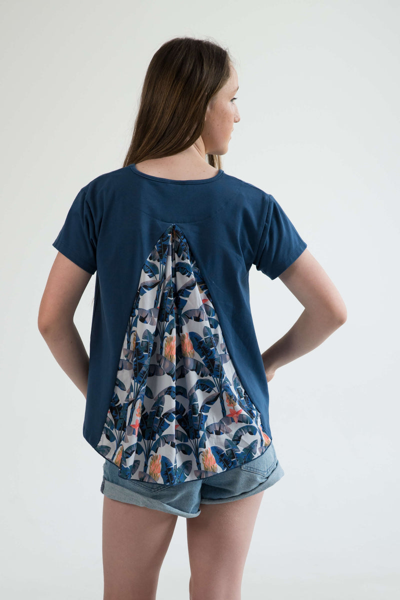 tween clothing girls top t-shirt blue banana leaf palms back