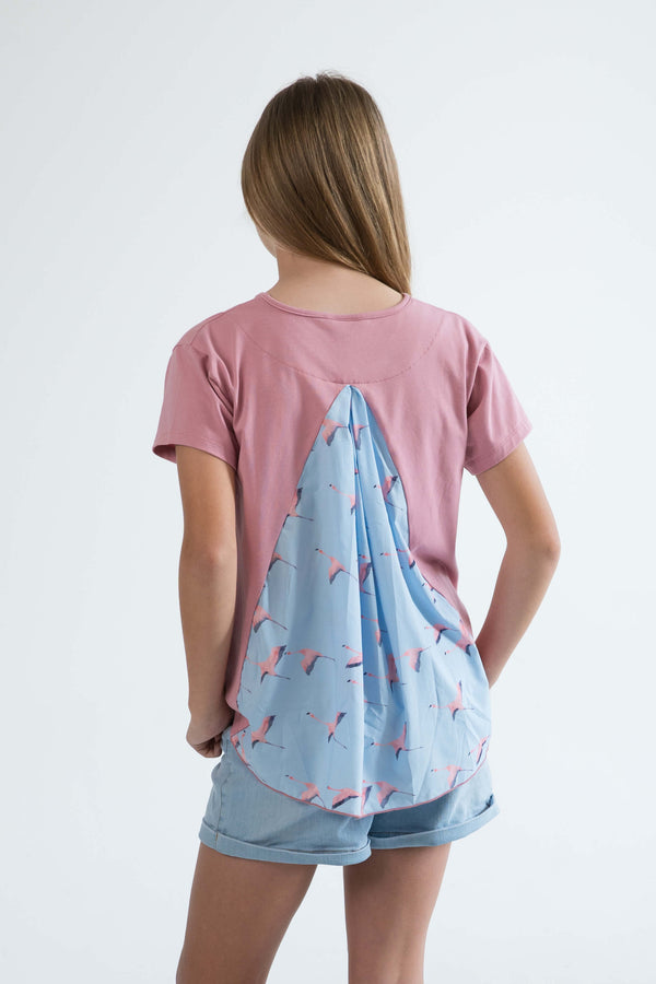 tween teen girls top t-shirt rose pink flamingo back