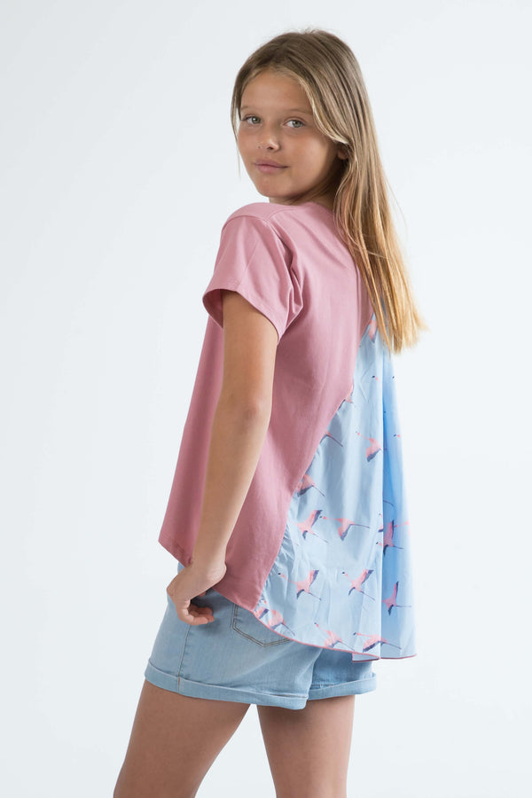 tween teen girls top t-shirt rose pink flamingo side view