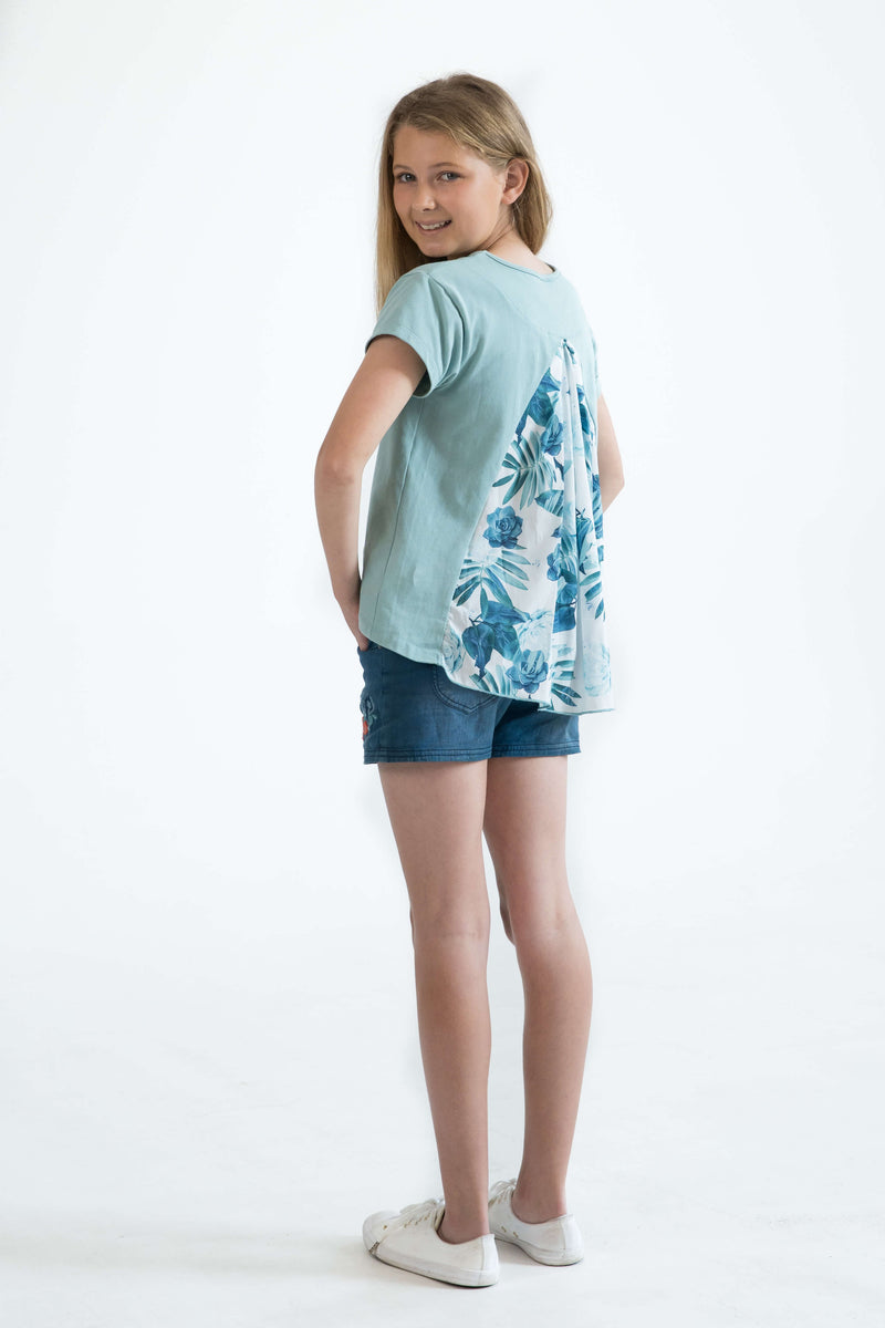 tween teen girls top t-shirt mint floral back