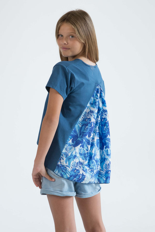 tween teen girls top t-shirt blue tropical floral back view