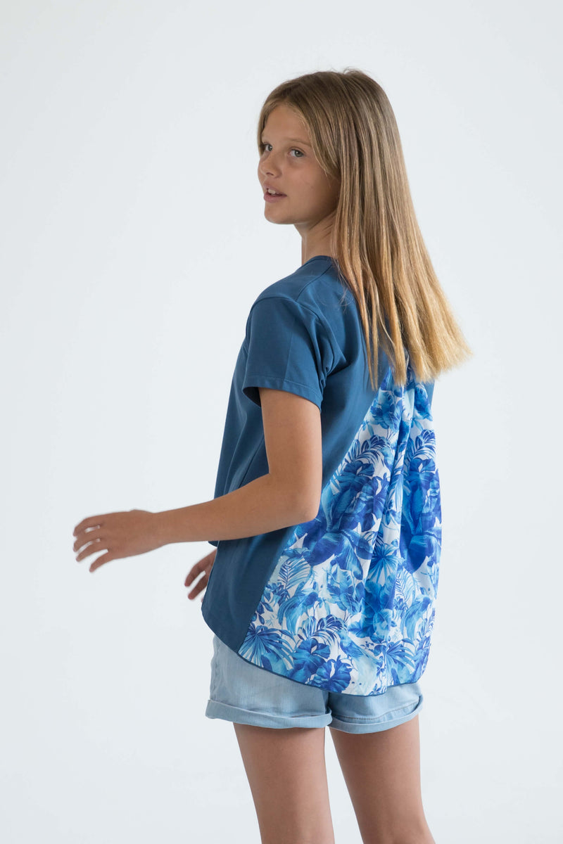 tween teen girls top t-shirt blue tropical floral back