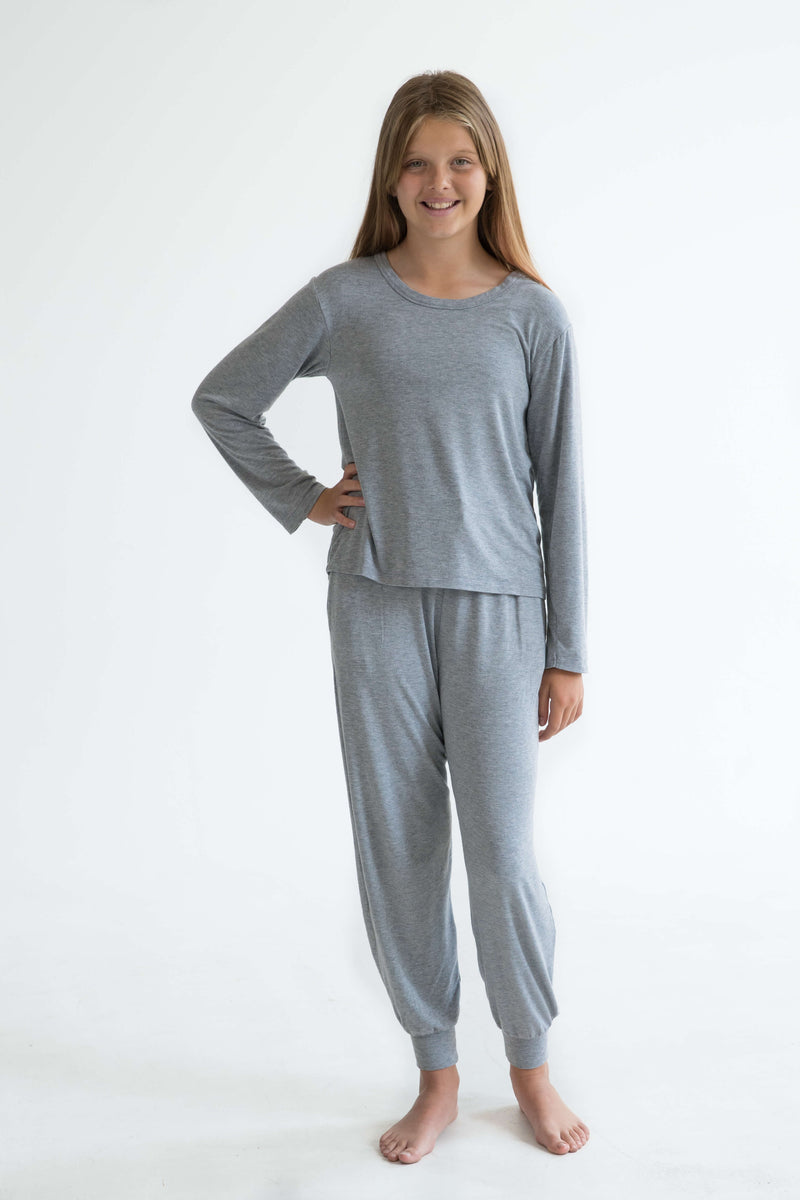 tween teen girls pyjamas grey long sleeve sleep tee front