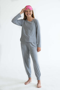 tween teen girls pyjamas PJ set long pants long sleeve top grey super soft VSCO sleepover mix and match
