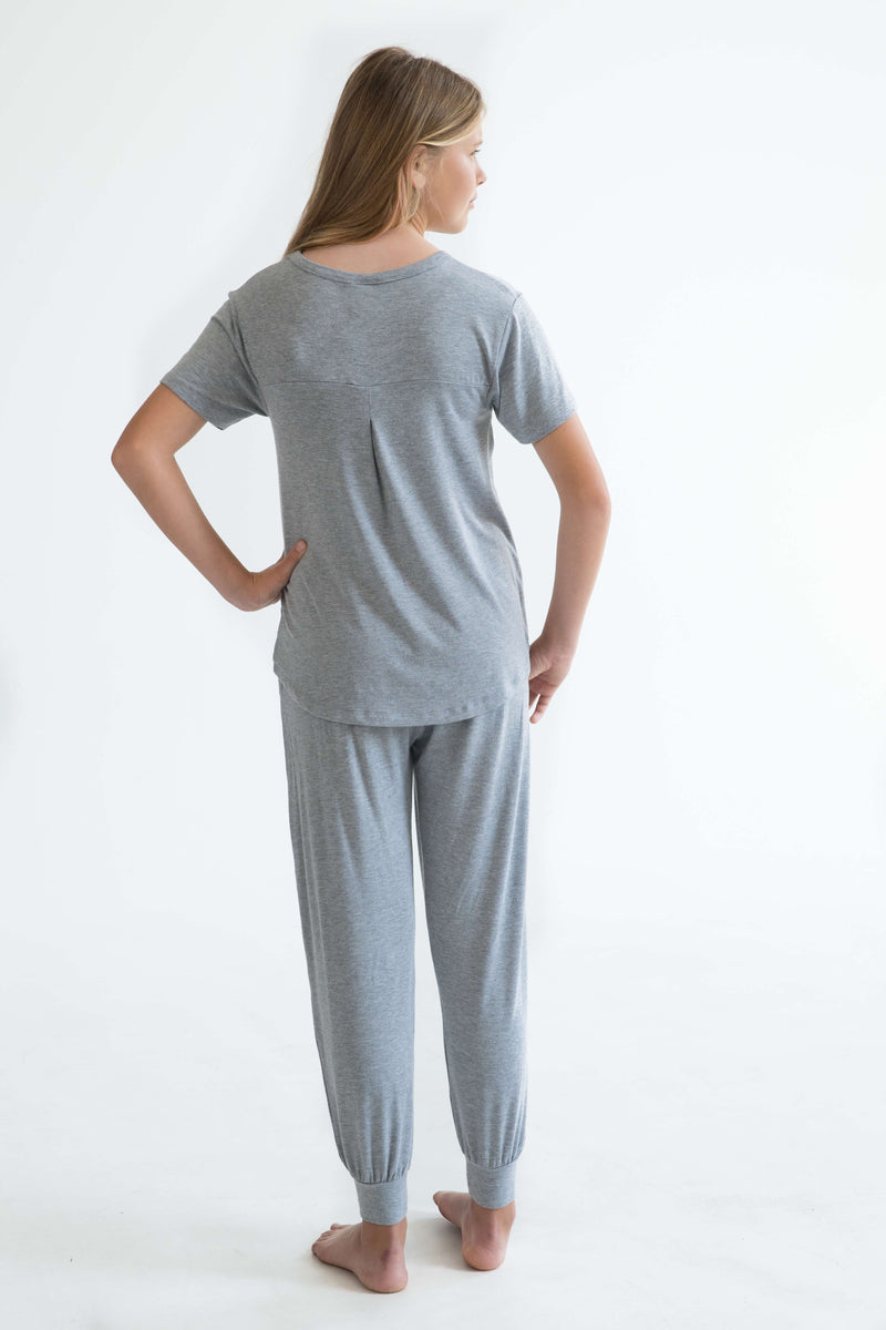 tween teen girls pyjamas grey short sleeve sleep tee back super soft