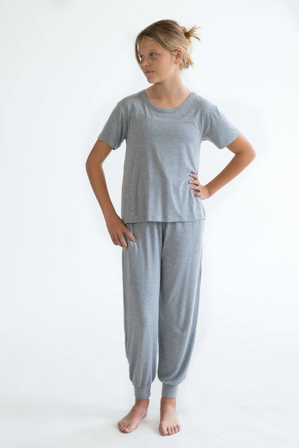 grey teen girls pyjamas set long pants and short sleeve top by Love Haidee Australia front