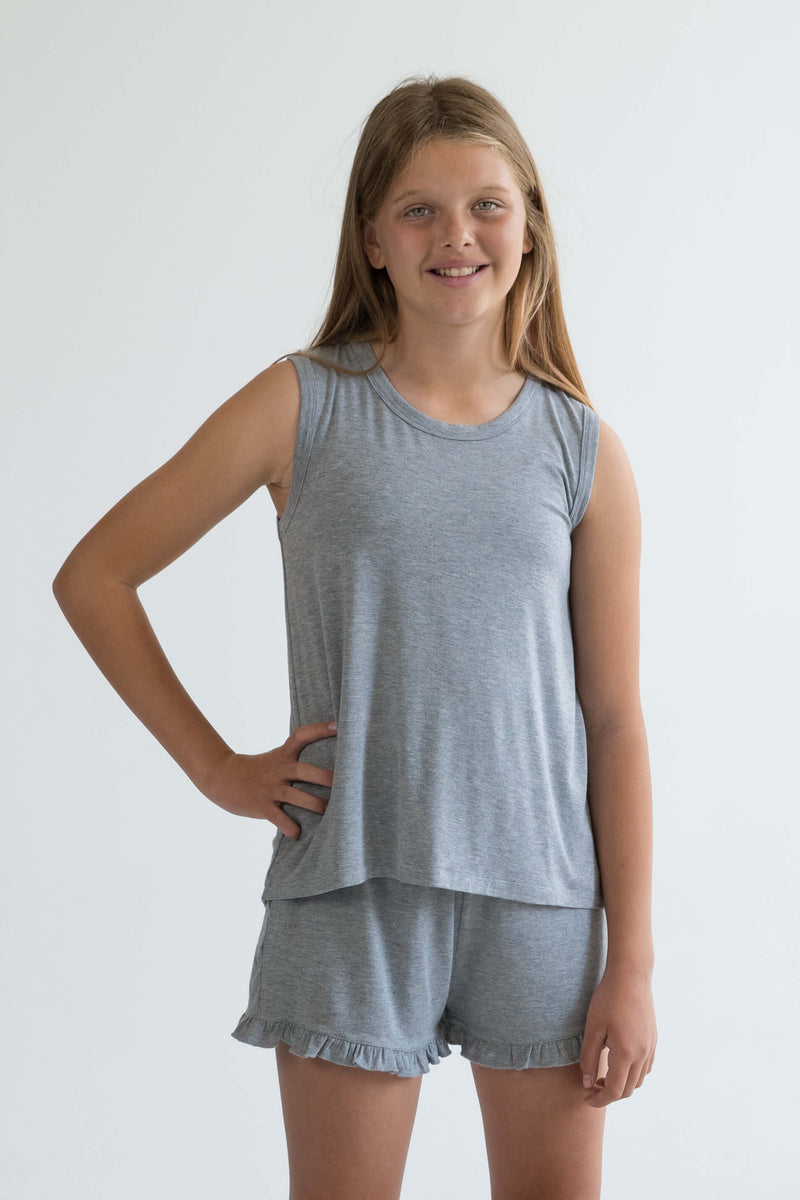 tween teen girls pyjamas grey singlet tank super soft front