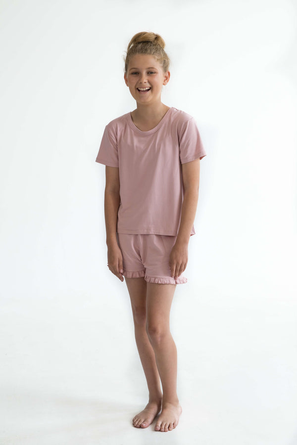 tween teen girls pyjamas pink short sleeve sleep tee front super soft 2
