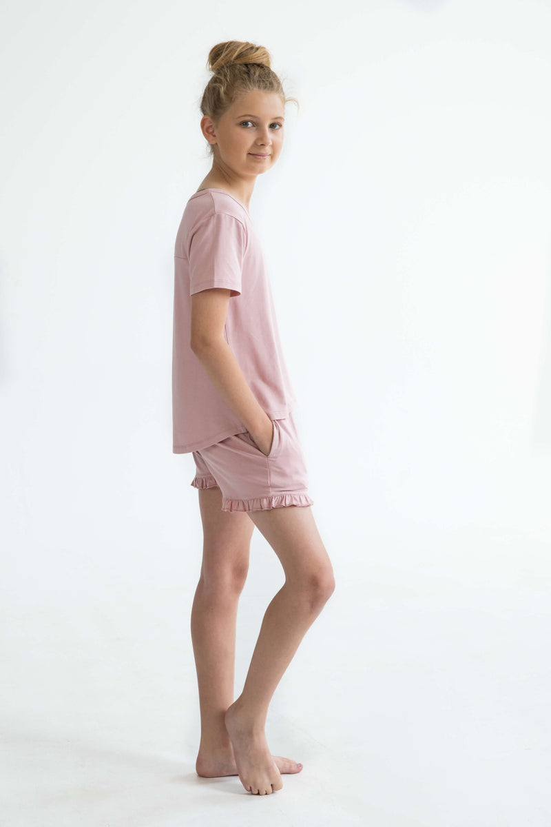 tween teen girls pyjamas pink short sleeve sleep tee side full super soft