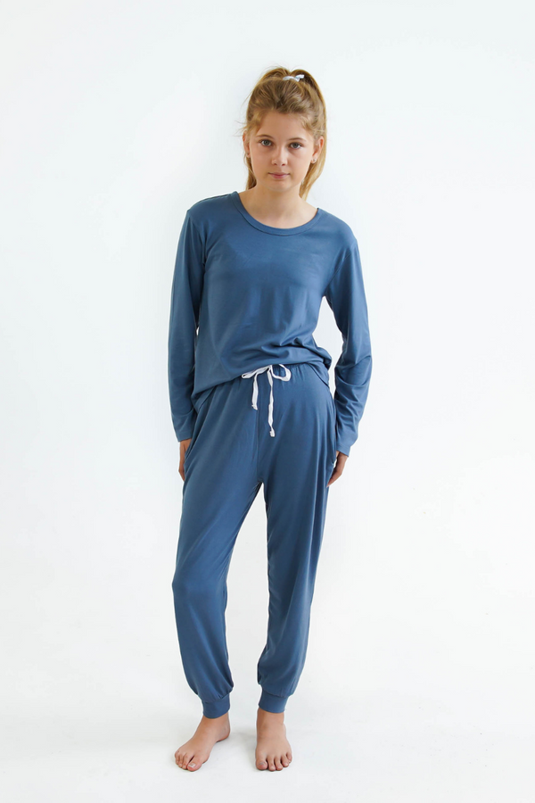 blue girls winter pyjamas by Love Haidee Australia long pants and long sleeves front