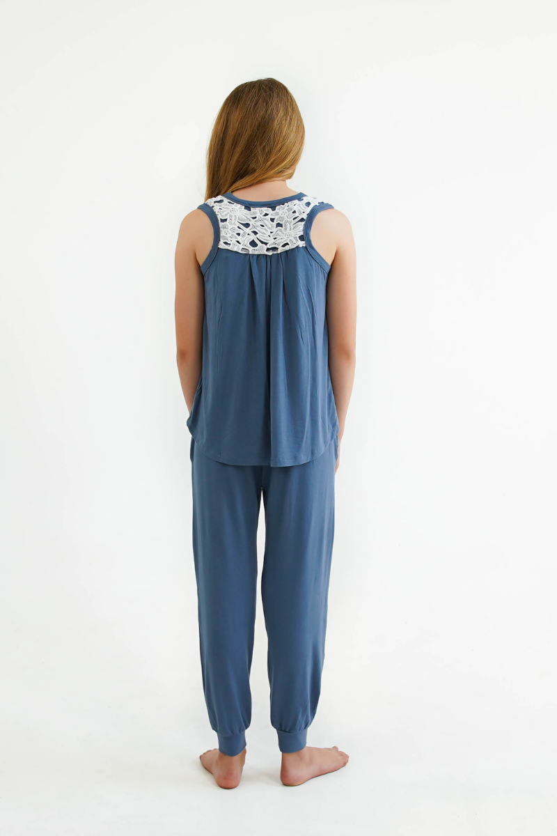 Blue Girls Pyjamas SET - Lounge Pants & Sleep Tank