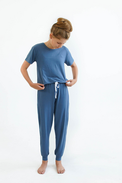 Blue Girls Pyjamas SET - Lounge Pants & Short Sleeve Sleep Tee