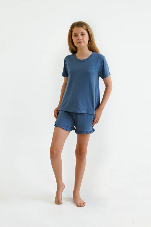 blue teen girls summer pyjamas set shorts and short sleeve top by Love Haidee Australia front