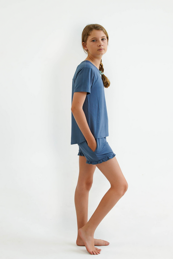 blue teen girls summer pyjamas set shorts and short sleeve top by Love Haidee Australia side