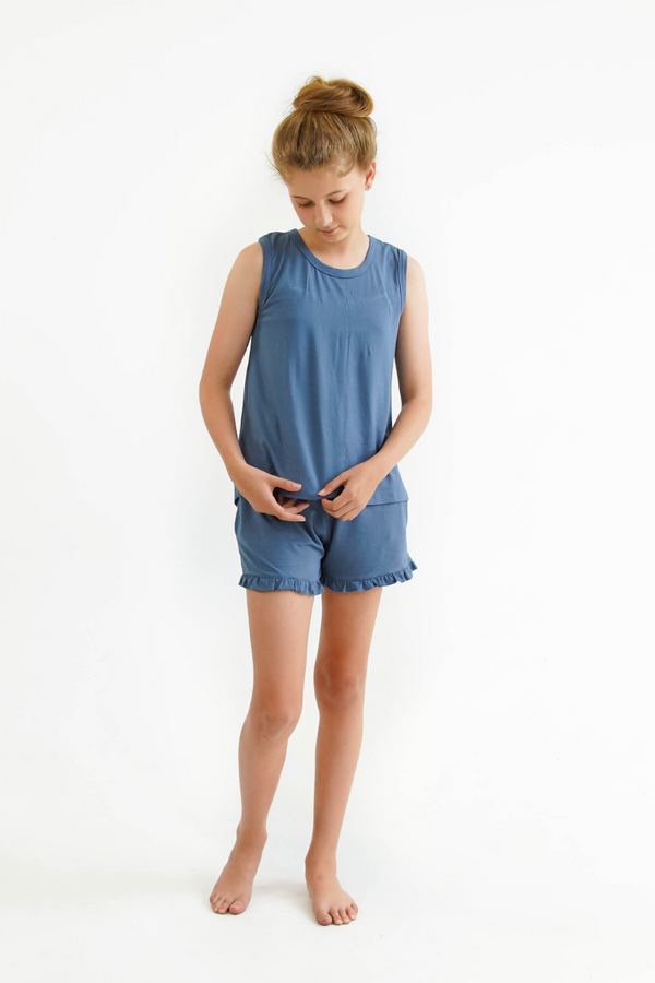 blue teen girls summer pyjamas set shorts and lace singlet by Love Haidee Australia front