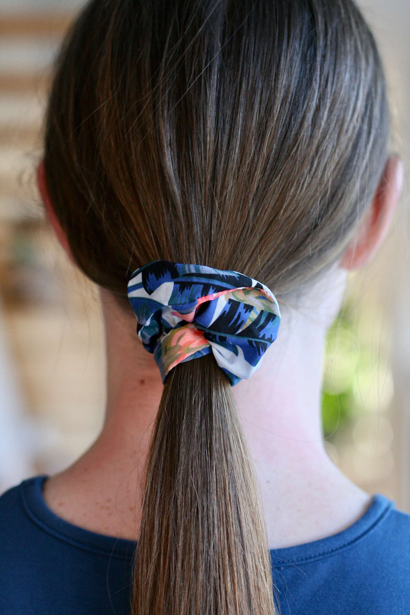girls scrunchies Australia | banana leaf palms print
