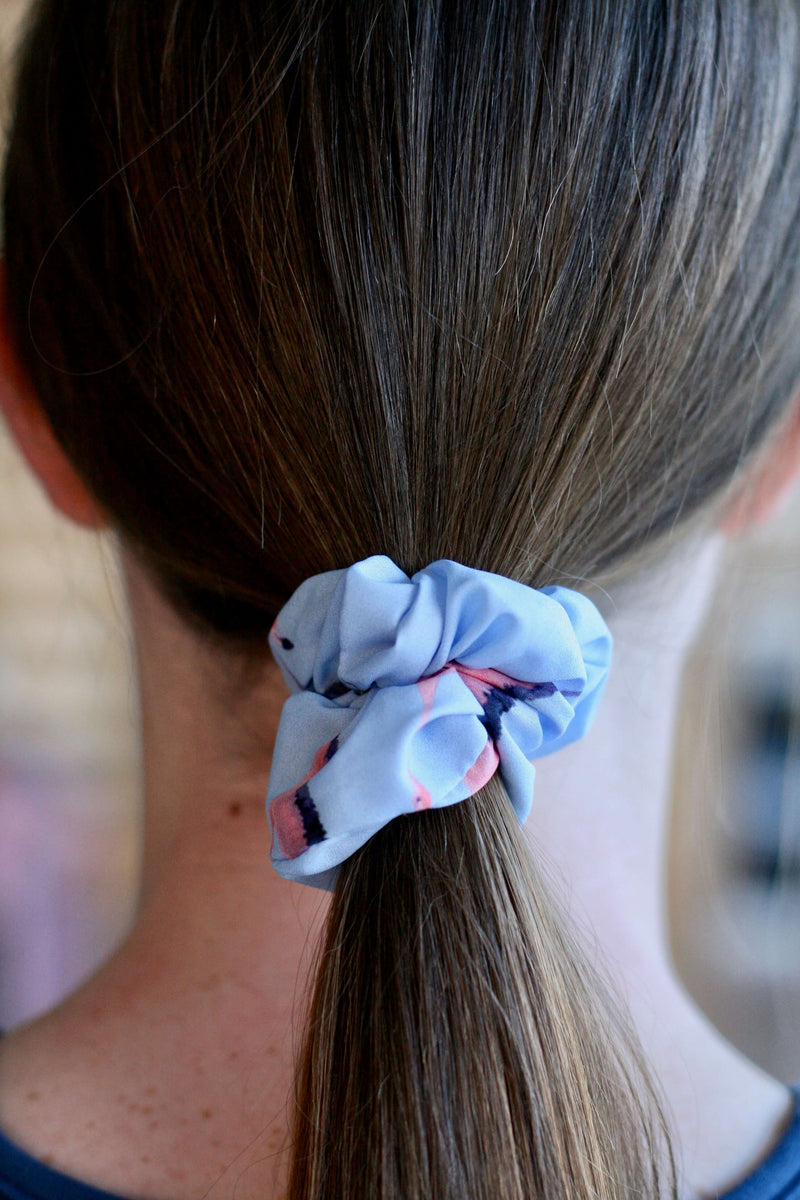 girls scrunchies Australia | flamingo flight print