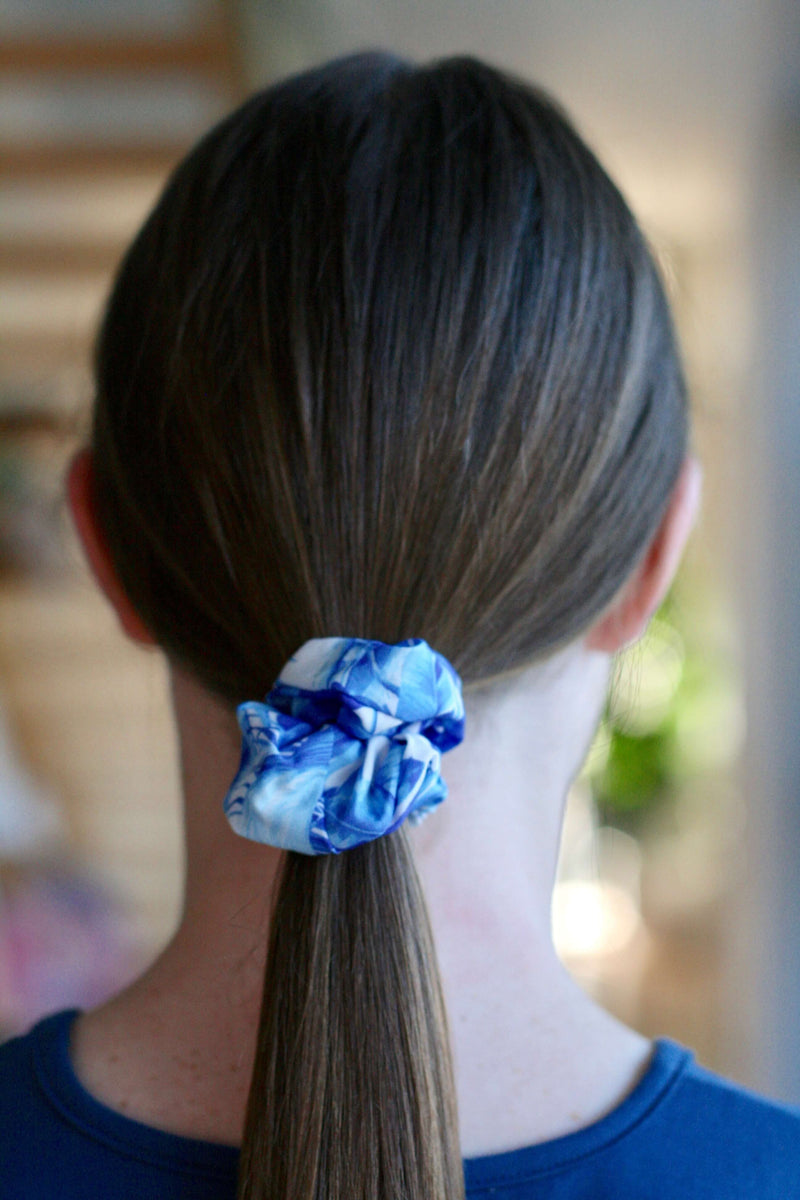 girls scrunchies Australia indigo jungle print hair scrunchies