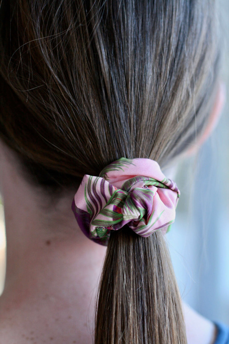 girls scrunchies Australia pink palms print hair scrunchies