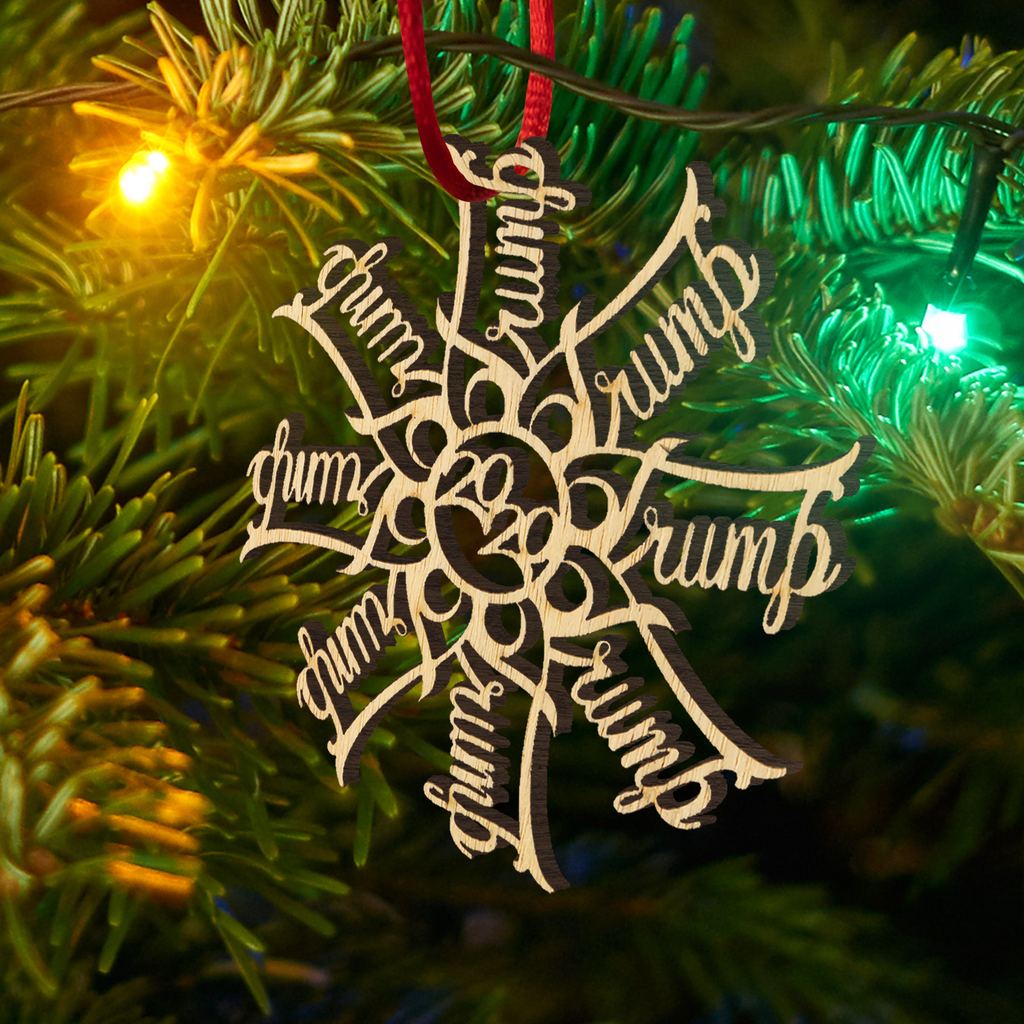 TR*MP 2020 Snowflake Wooden Christmas Ornament
