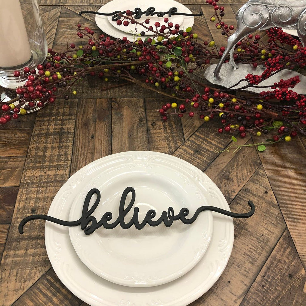 Table Decor for Christmas  - Believe, Peace & Thankful