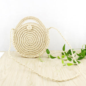 Circle straw bags with zipper in beige