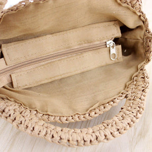 Open Circle straw bags with zipper in beige and light brown