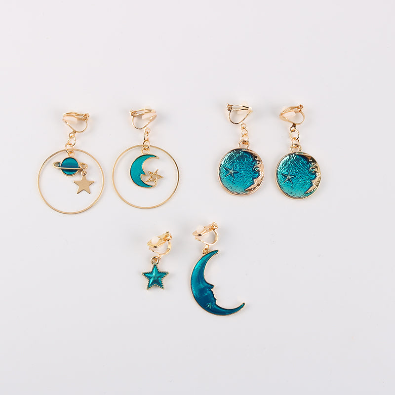 Blue Galaxy Asymmetrical Clip On Earrings