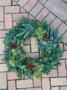 Mixed Evergreen Wreath with Pine Cones