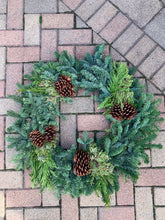Load image into Gallery viewer, Mixed Evergreen Wreath with Pine Cones