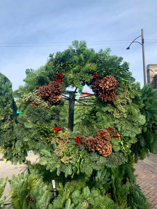 Mixed Evergreen Wreath with Pine Cones & Berries