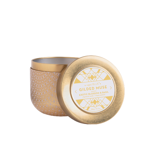 Capri Blue Exotic Blossom & Basil Gilded Muse Tin Candle
