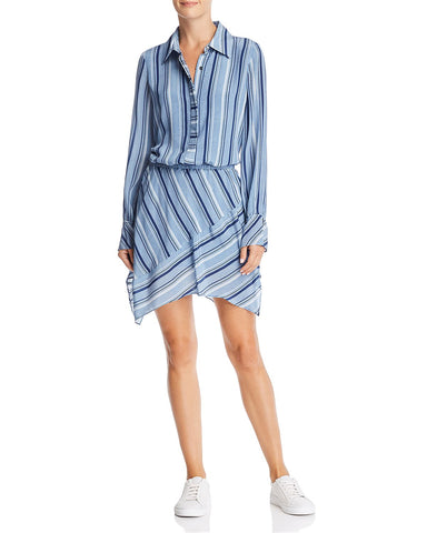 Brandi Striped-Silk Dress in Blue Combo