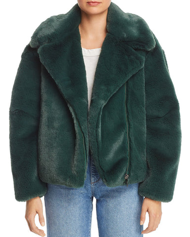 Greta Faux Fur Moto Jacket in Green
