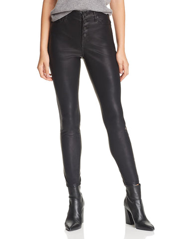 Button-Front Faux-Leather Skinny Pants in Daddy Soda