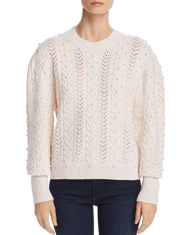 Tinala Embellished Pointelle Sweater in Antique White