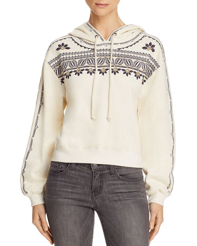 Embroidered Drop Shoulder Hoodie in Bone