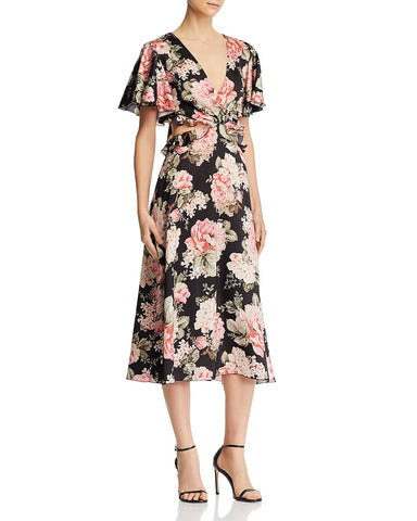 Floral Flutter Sleeve Dress in Onyx