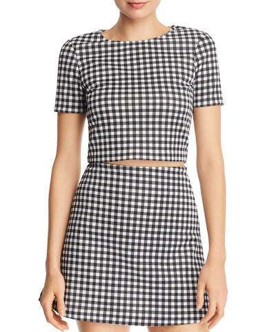 Gingham Cropped Top in Black/White